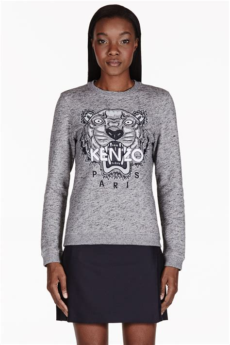 Sweater Kenzo Tiger Kenzo Grey Melange Embroidered Tiger Sweater In Gray Lyst