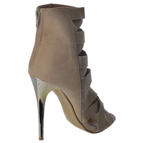 Zip Up High Heel Ankle Boots womens high heel elastic stretch zip up gladiator