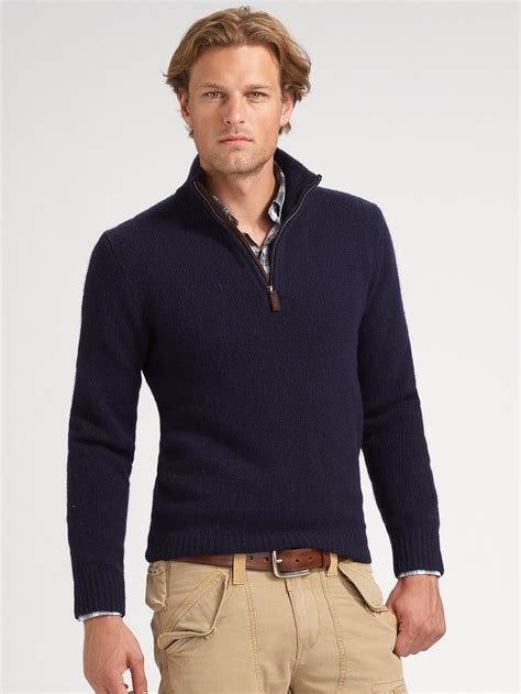 Polo Sweater mens polo ralph cotton half zip sweater in navy