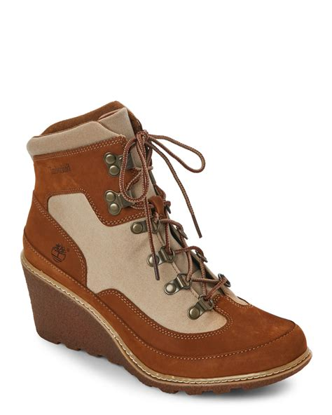 timberland rust amston hiker wedge boots in brown lyst