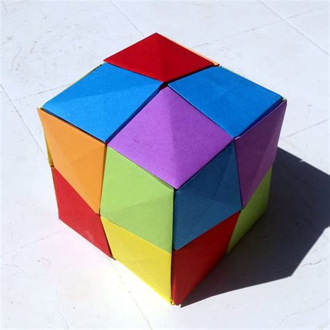 3d Cube Origami - 3d cube made from origami pixels by lise bouzat