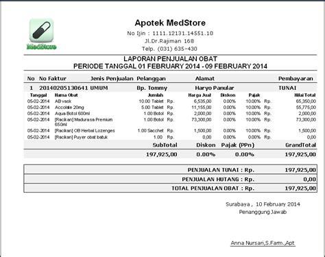 format laporan penjualan cetak laporan penjualan