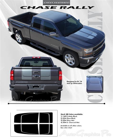 chevy silverado stripes  chase rally special edition truck hood racing decals