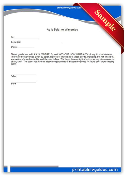 as is warranty form free printable as is sale no warranties form generic