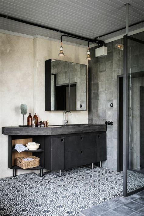 Charmant Carrelage Salle De Bain Zen #4: salle-de-bain-anthracite-fonc%C3%A9-carrelage-mosaique-blanc-noir-meubles-industriel-couleur-salle-de-bain-blanc-noir.jpg