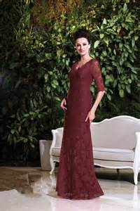 sheath v neck long burgundy lace mother of the bride