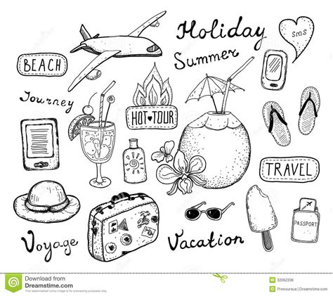doodle sketch vector free travel doodle elements set stock vector image of