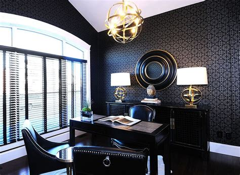 office wallpaper interior design 30 black and white home offices that leave you spellbound