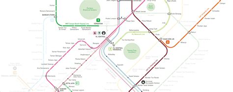 Lrt Monorail Ktm Map Kuala Lumpur Mrt Lrt Monorail Map