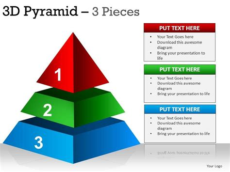 pyramid powerpoint template 3d pyramid 3 pieces powerpoint presentation slides
