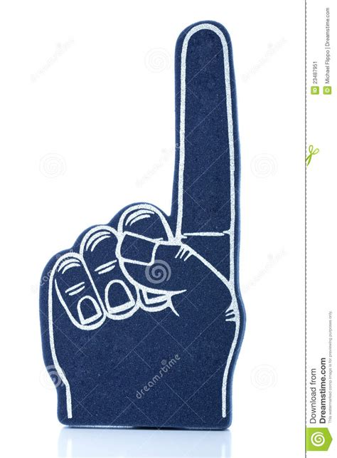 blue foam finger with finger pointing up royalty