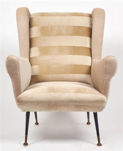 Striped Armchairs For Sale Italian Mid Century Modern Striped Velvet Armchairs For