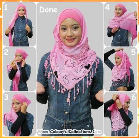 tutorial hijab paris buat lebaran cara memakai jilbab kreasi shawl lebaran tutorial