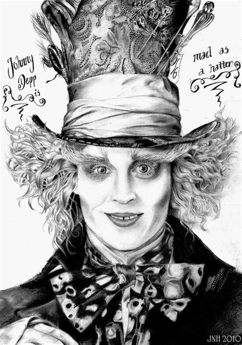 sketch tattoo johnny depp alice in wonderland mad hatter hat drawing johnny depp
