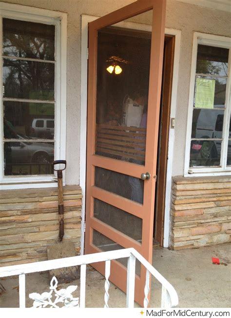 brown vintage screen door   mid century home mid
