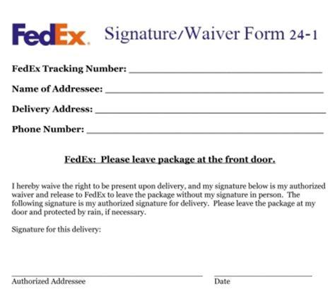 Guarantee Letter Of Delivery Fedex Signature Waiver