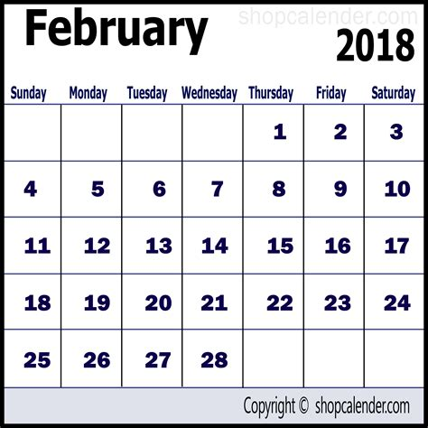 calendar february 2018 template for free blank free