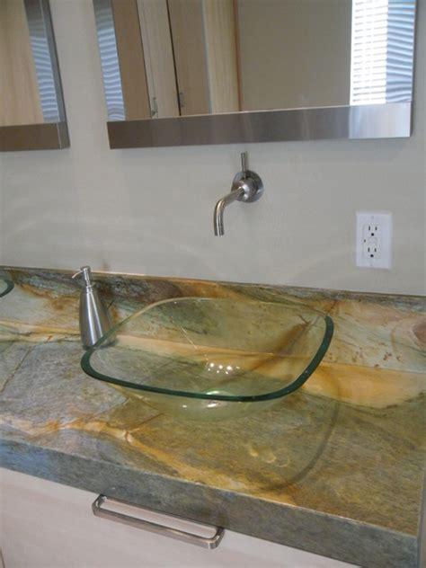 Floating Countertop by Floating Vanity And Granite Countertop Bathroom By Designers Custom