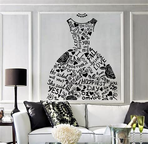 Wedding Dress Vinyl Fashion Decor Mural Bridal Shop