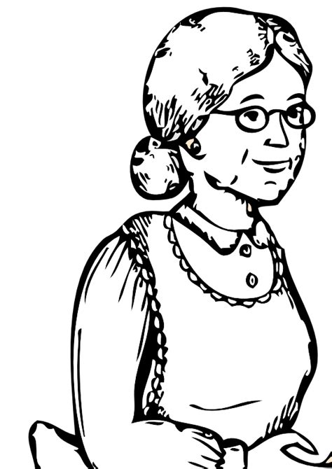 coloring page indian grandmother clipart clip library