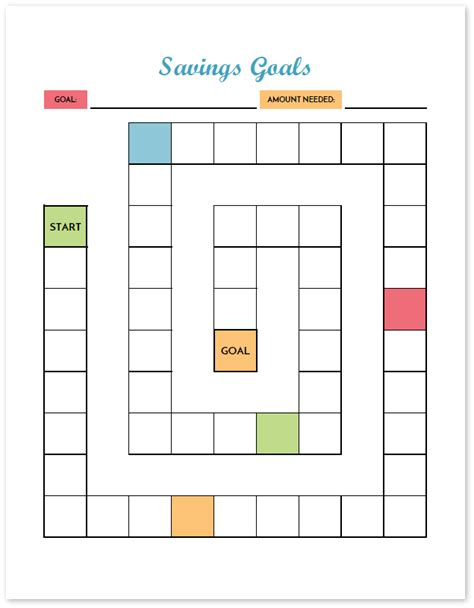 blank savings goal worksheet
