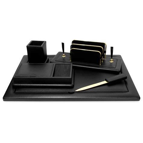 Black Leather Desk Accessories Black Leather Desk Accessories Six Black Leather Desk Set Set Of 6 In Desk Accessories Renzo