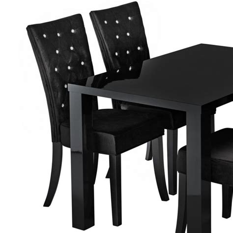 Black Fabric Dining Room Chairs Radiance Set Of 2 Diamante Dining Chair In Black Velvet Fabric