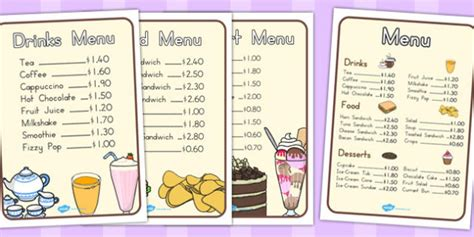 design a menu ks2 cafe menus food shops eating menu drinks drinking list