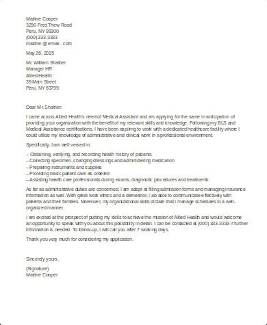sle cover letter for medical assistant 8 exles in