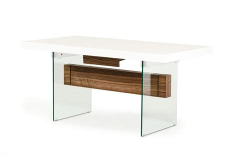 Floating Bar Table Modrest Sven Contemporary White Walnut Floating Extendable Dining Table