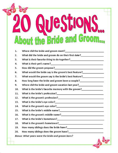 Questions To Ask Husband To Be For Bridal Shower by 25 Best Ideas About Bridal Shower Questions On