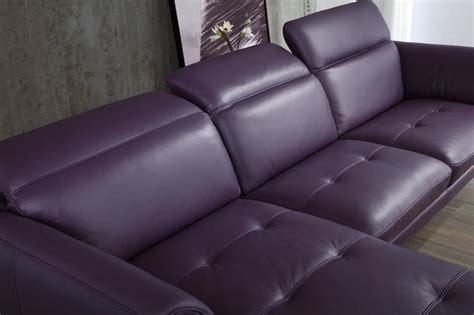 purple leather recliner top grain purple or off white sectional sofa tufted seats