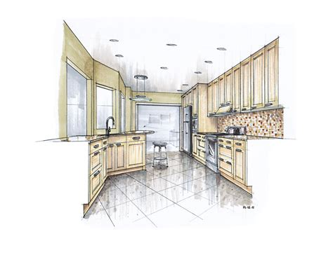 2 Point Perspective Room Interior More Recent Kitchen Renderings Mick Ricereto Interior