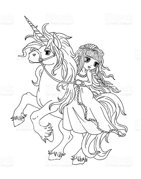 coloring pages unicorn princess coloring page the princess on the unicorn stock vector art