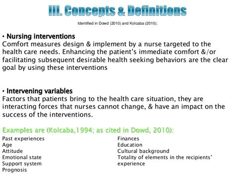 comfort measures for patients theory of comfort
