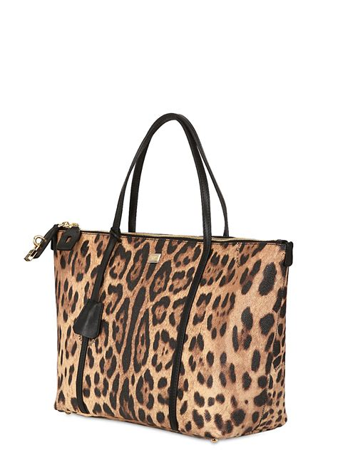 Animal Print Tote Bag lyst dolce gabbana miss escape leopard print tote bag