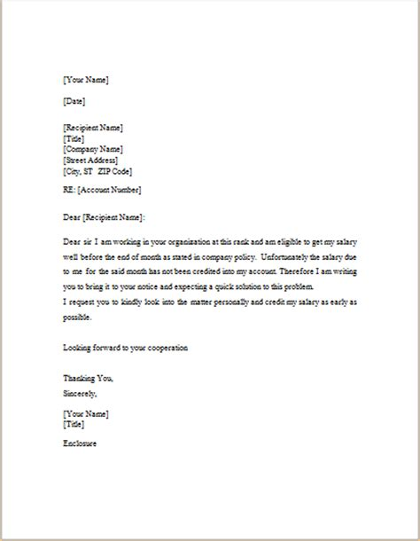 salary request letter template doc word excel templates