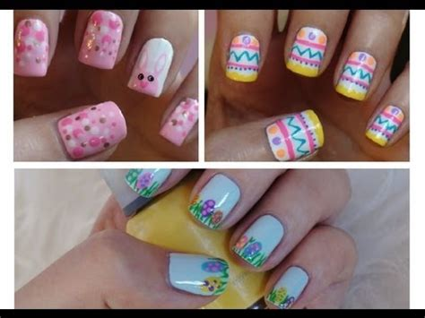 nail art tutorial missjenfabulous easter nail art three cute easy tutorials youtube