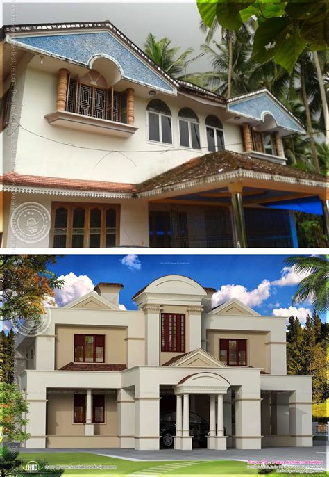 old house renovation before and after traditional old house renovation plan to colonial style kerala home design and floor
