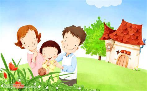 wallpaper cartoon family lovely children illustraion of family love 1440x900 no 21