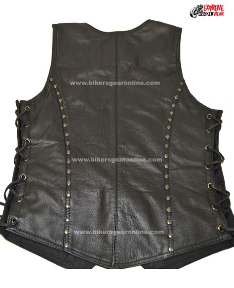 motorcycle riding vest leather ladies motorcycle studded riders black soft leather vest