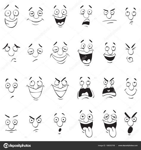 expression cartoons illustrations vector stock images face expressions cartoon doodle back and white outline