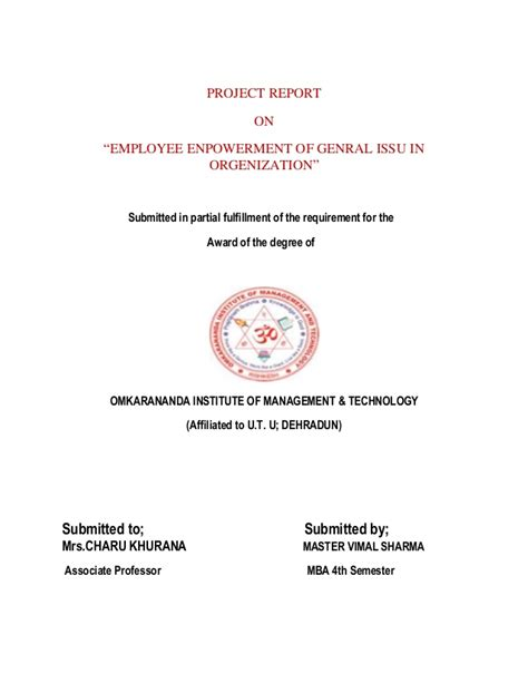 Mba Project Report On Employee Empowerment by Master S Project