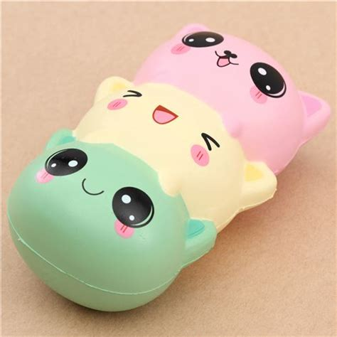 squishy cat green light yellow pink cat dango squishy kawaii
