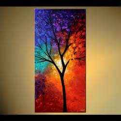 colorful canvas 48 quot x24 quot tree of print stretched embellished