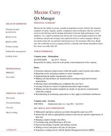 Quality Assurance Resume Exles by Sle Quality Assurance Resume 9 Exles In Word Pdf