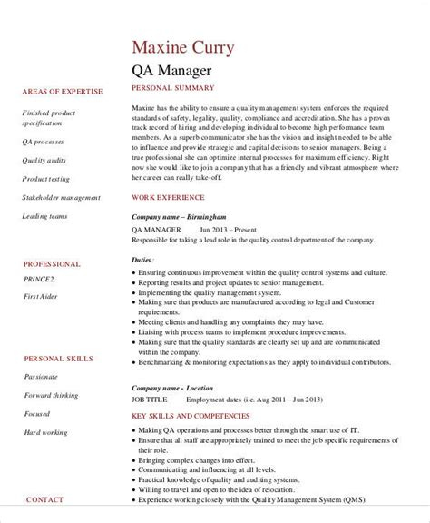 Quality Managers Resume by 9 Sle Quality Assurance Resumes Sle Templates