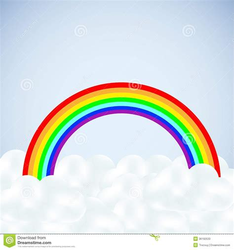 imagenes de un arco iris nubes vector con un arco iris en azul fotos de archivo imagen 36192533