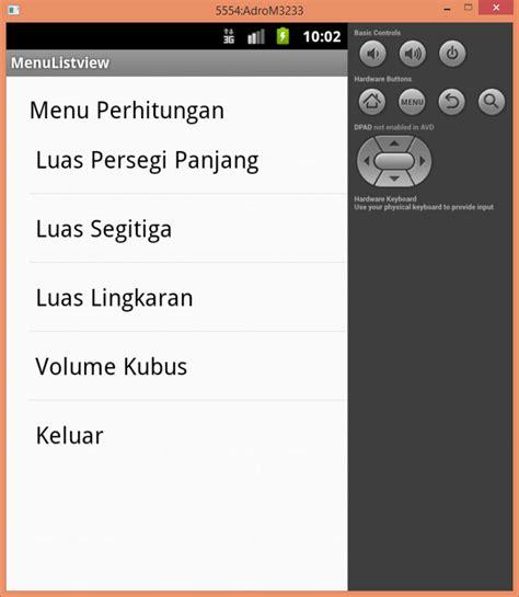 membuat layout menu android program android membuat menu menggunakan listview mesran