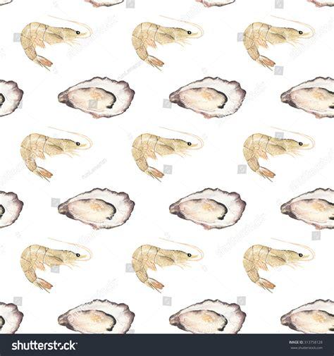 seamless pattern hand drawn seafood oyster prawn seafood marine cuisine seamless stock